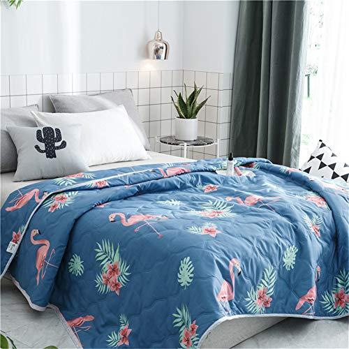 Fansu Tagesdecke Bettüberwurf Steppdecke Mikrofaser Doppelbett Einselbetten Gesteppt Bettwäsche Sofaüberwurf Wohndecke Bettdecke Stepp Gesteppter Quilt (Flamingo,150x200cm)
