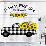 Ambsunny Sonnenblumen-Duschvorhang Frühling Sommer Farm Truck Blooming Wildblumen Landhaus Rustikal Natur Artwork Stoff Badezimmer Dekor Set mit 12 Haken 152,4 x 180,3 cm, schwarz gelb