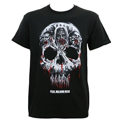 Camiseta masculina de caveira felpuda Fear The Walking Dead, Preto, Medium