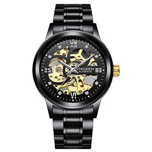 Reloj de Pulsera mecánico para Hombre, aleación, Esfera, Correa, números Romanos, multipropósito, Informal, de Moda -A
