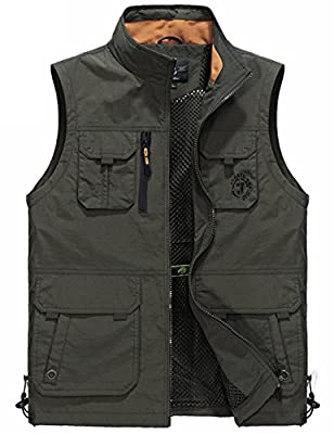 Flygo Men's Utility Outdoor Multi Pockets Fishing Photo Journalist Sports Vest (Large, Style 04 Army Green) by