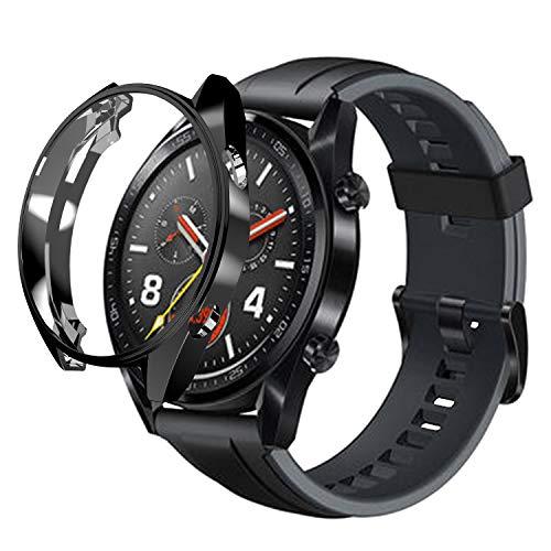 sciuU Hülle Kompatibel mit Huawei GT Active 46mm, Slim Soft Flexible TPU-Gehäuse Schutzhülle Hülle Durchsichtig Schale Kompletter Schutz Tasche Cover für Smart Watch Huawei GT 1 - Schwarzes