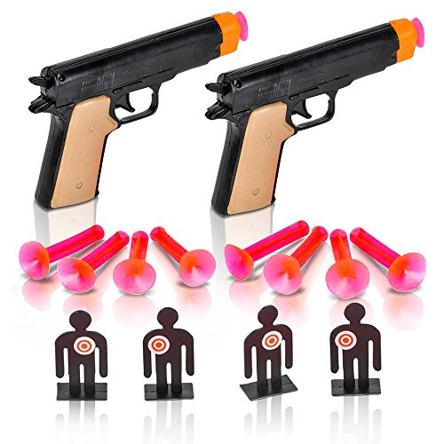ArtCreativity Aim The Police Pistol Dart Gun Set Includes 2 Toy Pistols 8 Suction Cup Darts 4 Targets and 1 Instruction Sheet Fun Target Shooting Game for Kids and Adults Great Gift