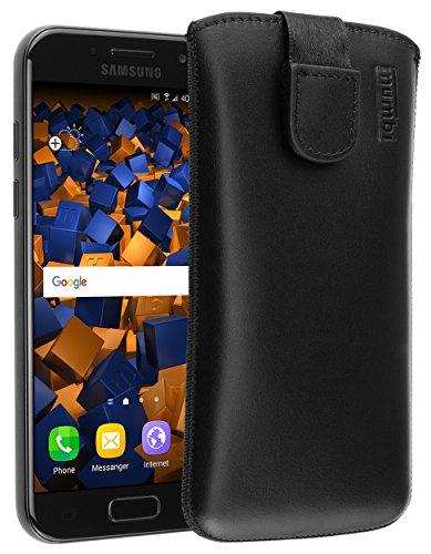 mumbi Echt Ledertasche kompatibel mit Samsung Galaxy A3 2017 Hülle Leder Tasche Case Wallet, schwarz