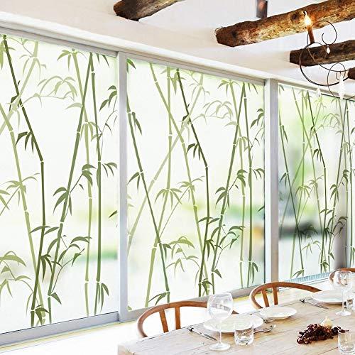 FOREVER Bambus Dekor-fensterfolie, Ohne klebstoff Fensterfolie sichtschutz Statische klarsichtfolie Mattiertes Glas Film für dusche 3D fensteraufkleber Wohnzimmer Office-A 80X120cm(31x47inch)