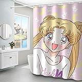N / A hochwertige Sailor Moon Anime wasserdichte Duschvorhänge Duschvorhang Badezimmer Polyester 3D Mädchen Jungen-B90cmxH180cm