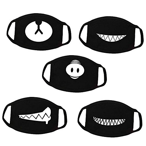 Pack of 5 cute bear, pig, teeth mouth mask. Made of cotton, comfortable and breathable. One size fits for most people. Easy to wear and remove the mask with stretchy adjustable earloops. Suitable for men, women, teenagers to wear indoor and outdoor.