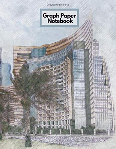 Graph Paper Notebook: Architecture City Towers Palm Tree Buildings Drawings Plans Designs Themed Notebook - 5 x 5 Graph Paper - 120 Pages (60 Sheets) - 8.5