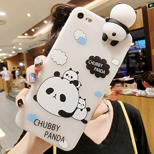 Probityli Bueno for iPhone 6 Plus y 6s Plus Patrón de Tres Pandas 3D Lovely Papa Panda Funda Protectora a Prueba de caídas (Color : Color2)