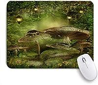 VAMIX マウスパッド 個性的 おしゃれ 柔軟 かわいい ゴム製裏面 ゲーミングマウスパッド PC ノートパソコン オフィス用 デスクマット 滑り止め 耐久性が良い おもしろいパターン (緑のファンタジーキノコ魔法の森の植物ライトツリー)