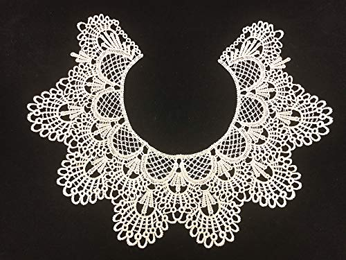 1pc Embroidery Round Ripple Neck African Lace Fabric Collar,DIY Handmade Lace Fabrics for Sewing Crafts (Ivory)