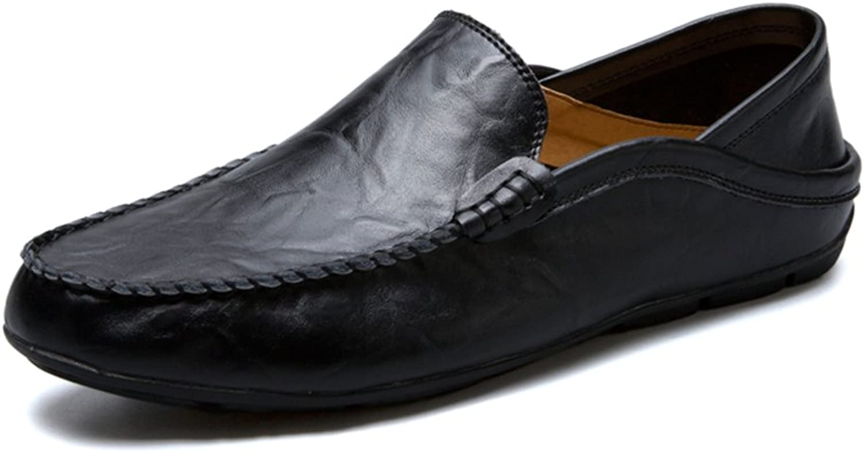 CHENDX Schuhe, Herrenmode Flache Ferse Hochwertiges weiches Leder Vamp Loafer Slip On Freizeitschuhe (Farbe   Schwarz, Gre   43 EU)