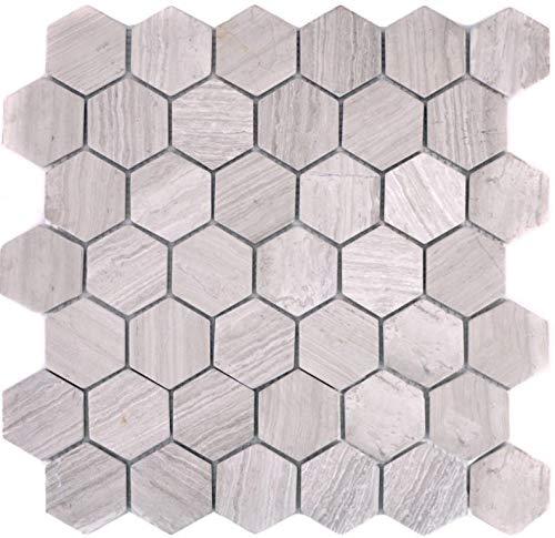 Mozaïek tegel marmer natuursteen hexagon marmer grijs strepen voor vloer muur badkamer toilet douche keuken tegelspiegel tegelverkleeding badkuip mozaïekmat mozaïekplaat