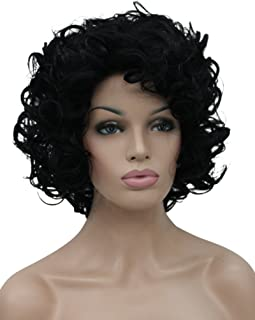 Kalyss Short Curly Wavy Black Wigs for Women Heat Resistant Synthetic Full Head Hair Costume Wig Natural Looking 130% Density Hairpiece