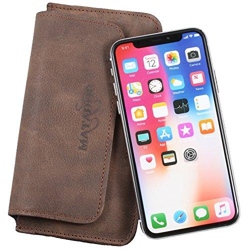 MATADOR Gürteltasche Handytasche Lederhülle ECHT Leder Case kompatibel mit Apple iPhone X/XS oder iPhone 11 Pro (Tabacco Braun)