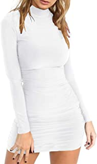 Women's Sexy Stand Neck Long Sleeve Ruched Bodycon Mini Club Dress