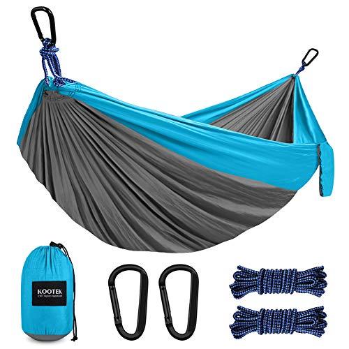 Kootek Camping Hammock Double amp Single Portable Hammocks with 2 Hanging Ropes Lightweight Nylon Parachute Hammocks for Backpacking Travel Beach Backyard Hiking Grey amp Sky Blue Large