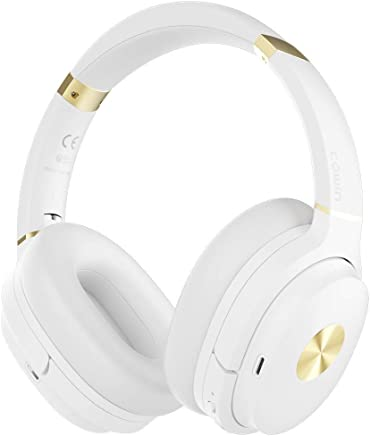 COWIN SE7 Active Noise Cancelling Headphones Bluetooth Headphones Wireless Headphones Over Ear with Mic/Aptx, Comfortable Protein Earpads 50H Playtime, Foldable Headphones for Travel/Work - White