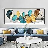 WKHRD Pintura al óleo de Hojas de Ginkgo Amarillo y Azul sobre Lienzo, póster nórdico, Cuadro de Arte de Pared para la decoración del hogar de la Sala de Estar | 50x150cm - (sin Marco)