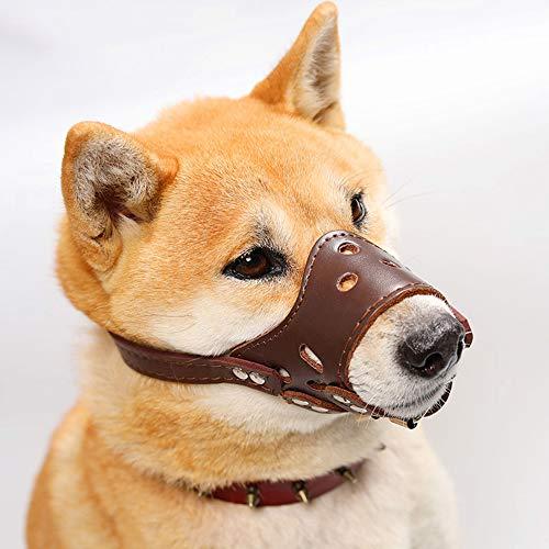 HITNEXT Bozal para Perro de Piel Suave, bozal marrón para Perro antiladrido, Anti-mordedura/Masticar, bozal Ajustable para Perros pequeños, medianos y Grandes (XS)