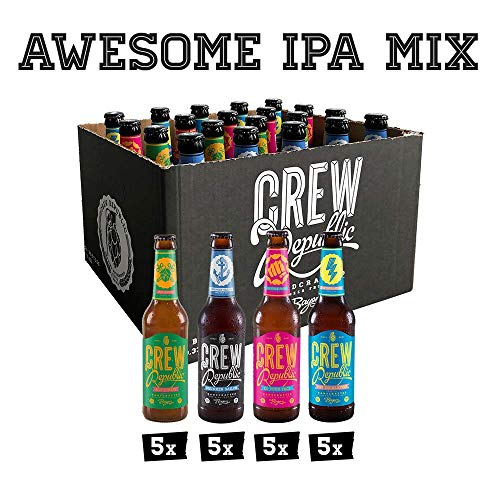 CREW Republic Craft Beer IPA Paket, Craft Bier Probierset Biertasting (20 x 0,33 l)