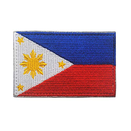 Philippines Flag Patch Filipino Sew On Embroidered Military Tactical Country's Three Stars and a Sun Flag 2x3 Emblem Applique(Red Blue)