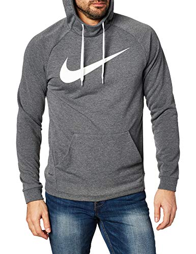 Nike Herren Dry Hoodie Pull Over Swoosh Kapuzenpullover, Grau (Charcoal Heather/White), XL
