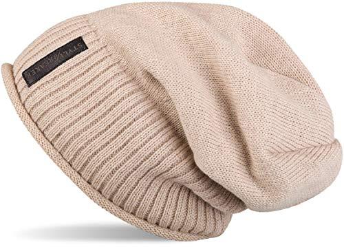 styleBREAKER warme Feinstrick Beanie Mütze mit sehr weichem Fleece Innenfutter, Unisex 04024065, Farbe:Beige