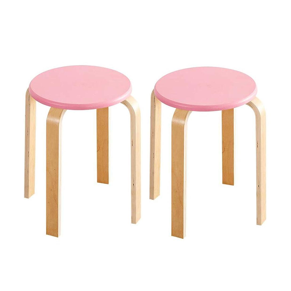 テーマセットするカプセルWYYY 椅子 ウッドスツール バックレス ラウンドトップ スタック可能 キッチン 庭園 クラスルーム パック2 強い耐久性 (色 : ピンク)