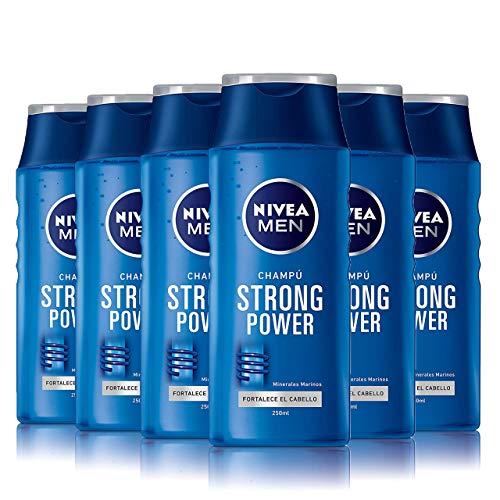 NIVEA MEN Strong Power Champú para hombre, para dar volumen y fortalecer el cabello, reparador - pack de 6 x 250 ml