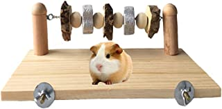 kathson Pet Wood ledges Platform with Chewing Toys Accessories for Mouse, Chinchilla, Rat, Gerbil,Guinea-Pigs and Dwarf Hamster