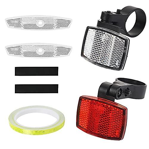 Juego de 5 reflectores para bicicleta, 1 reflector delantero para bicicleta, 1 reflector trasero, 2 radios, 1
