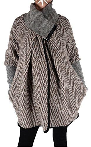 Italy Donna dames lagenlook wol poncho ballon jas blazer winter overgang trui gebreid vest 36 38 40 42 44 S M L XL beige grijs kort mantel