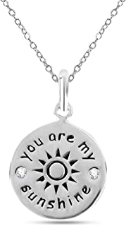 LeCalla Sterling Silver Jewelry Inspiration Engraved Pendant Necklace with Cable Chain for Women Teens