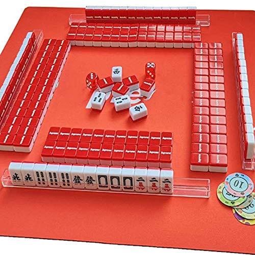 Gogh Conjunto de Viajes de Mahjong Portable Mahjong Adicional Completo con Estera de Mesa de 45 * 45 cm, 23mm Mini Mah Jong Regalo en Caja