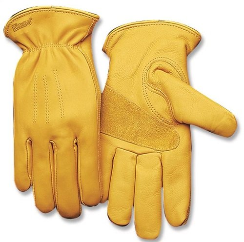 KINCO 198HK-L Mens Lined Premium Grade Grain Cowhide Leather Gloves, Heat Keep Thermal Lining, Large, Golden