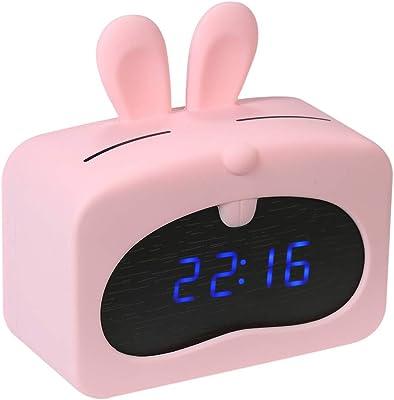 Decdeal Mini LED Despertador Digital,Hora Fecha Pantalla de Temperatura Reloj de Alarma Control de