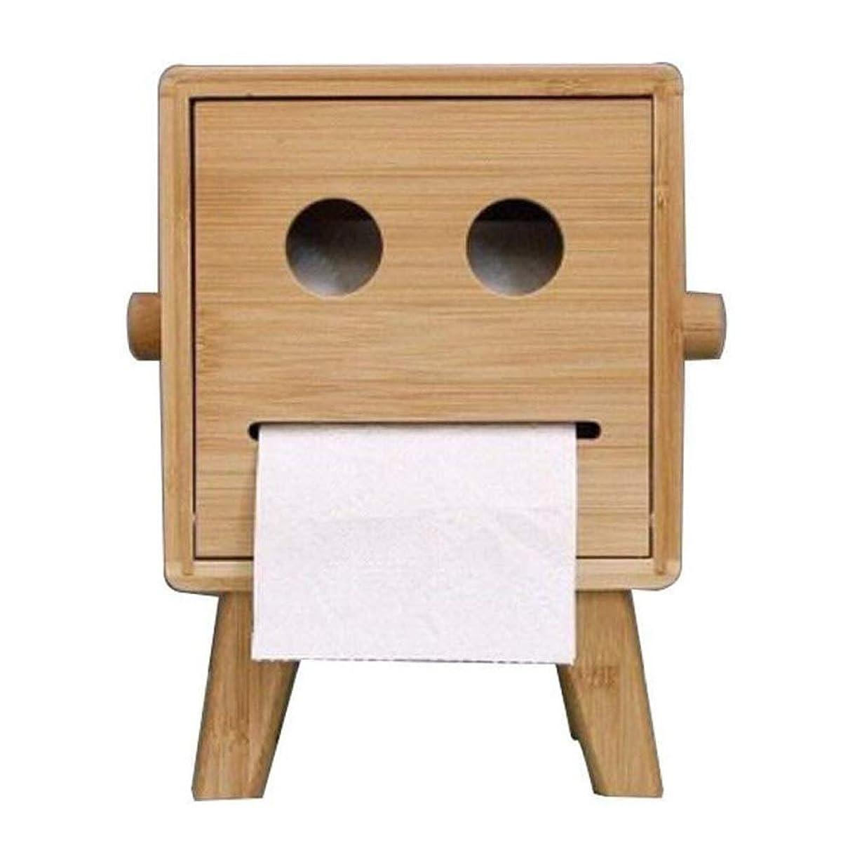 ドナウ川呪いリップJJLL トイレットペーパーホルダークリエイティブロボットスタイル竹バスルームのティッシュボックスカバー