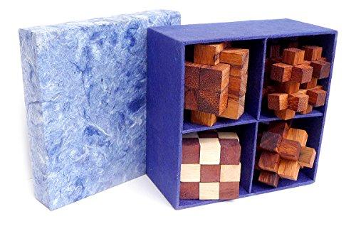 Art. Set 4 en 1   Rompecabezas 3D de Madera Preciosa   Caja de Papél De Arroz   Todos Los Niveles De Dificultad: Medio, Difícil, Extremo