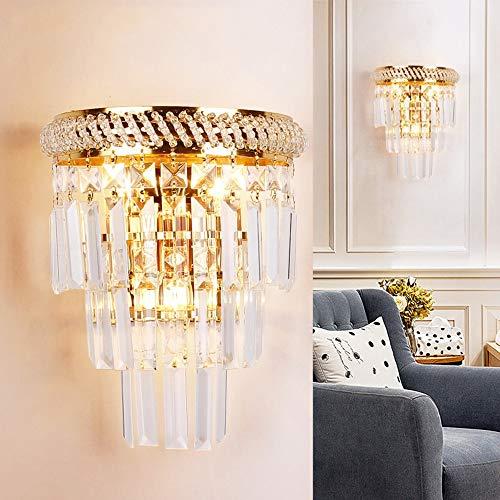 ZTKBG Lámpara de Pared de Cristal de Estilo Europeo Moderno, la Escalera del Pasillo de la lámpara de Cristal de la lámpara E14