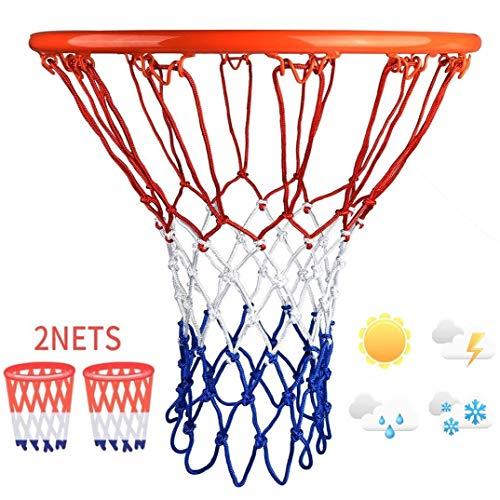 2 X Red De Baloncesto Servicio Pesado para Todo Clima, Red De Baloncesto De 12 Aros Estándar Reemplazo Se Adapta A Llantas Interiores O Exteriores