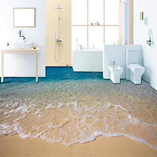 Benutzerdefinierte Bodenbelag Wandbild Tapete 3D Stereoskopische Strandboden Aufkleber PVC Wasserdicht selbstklebende rutschfeste Tapete Wohnkultur, 300 * 210 cm