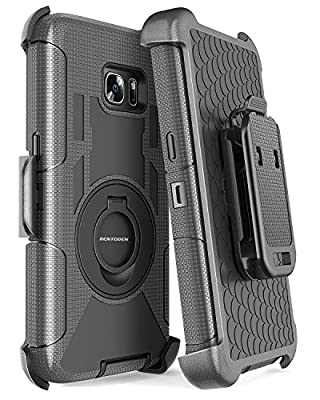 S7 Edge Case, Galaxy S7 Edge Holster Case, BENTOBEN Hybrid Dual Layer Combo Armor Heavy Duty Rugged Protective Case with Built-in Rotating Kickstand Swivel Belt Clip Holster for Galaxy S7 Edge