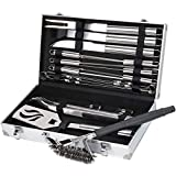 Sunflora Stainless Steel BBQ Tool Set with Case Heavy Duty Barbecue Grill Utensil Kit with Scraper Brush and Accessories for Men Dad