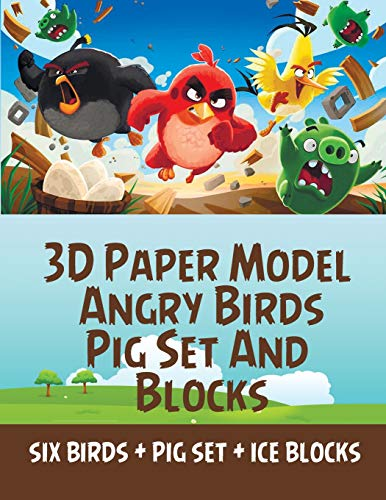 3D Paper Model Angry Birds Pig Set And Blocks: Paper Cool Kids Toys do it Yourself Children Educational Toys Cartoon Assembly Crafts boys girls