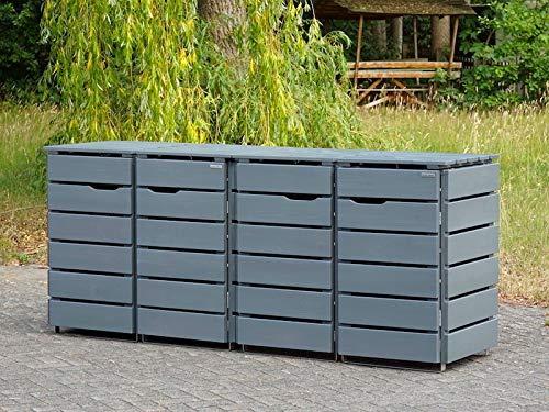 4er Mülltonnenbox / Mülltonnenverkleidung 120 L Holz, Deckend Geölt Lichtgrau - 3