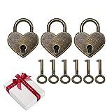 Mini candado con forma de corazón vintage antiguo de 3 piezas con juego de llaves de 6 piezas,nostalgia pequeño con corazón antiguo estilo vintage para regalo de fiesta bloqueo amor diario decoración