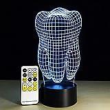 lámpara de ilusión 3D de luz nocturna lámpara para sala de estar Tooth touch ideal como regalo de cumpleaños para niños, niños y hombres Con interfaz USB, cambio de color colorido