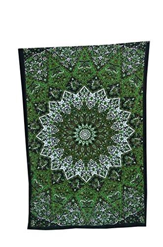 MY DREAM CARTS - Tapiz de Pared con diseño de Estrella de Color Verde, Estilo Bohemio, Ideal para Decorar el Dormitorio o la Playa