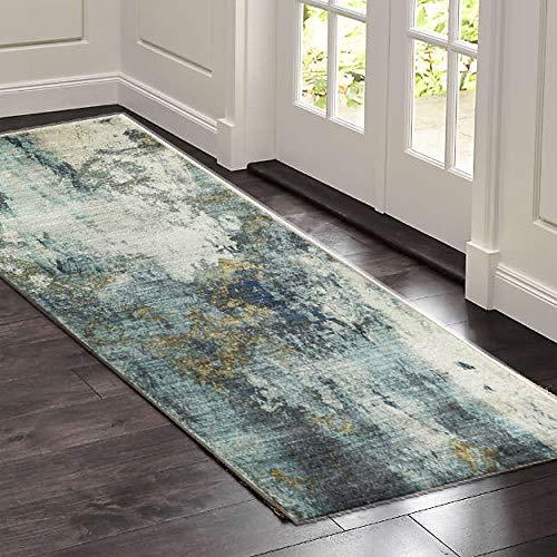 SOSTUDIO - Tappeto runner per corridoi, antiscivolo, tappeto da cucina, tappeto corridore, corridoio, corridoio, corridoio, corridoio, corridoio, corridoio, lavabile, blu, 60 x 180 cm